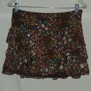 Brown floral ruffled mini skirt Size M